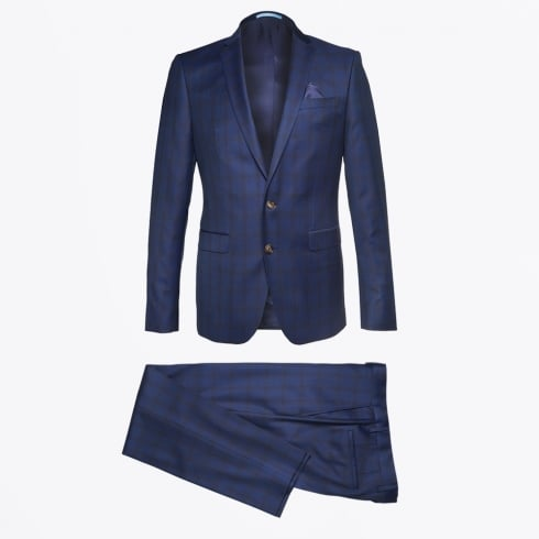 Sand - Star Craig Check Suit - Navy
