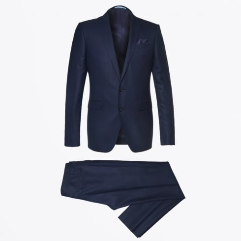 Sand - Star Craig Weave Detail Suit - Navy