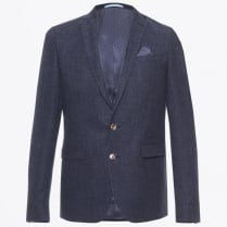 - Star Soft Cotton Wool Mix Blazer - Navy