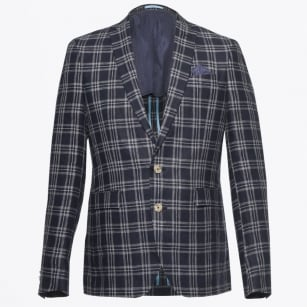 - Star Soft Linen Check Blazer - Navy