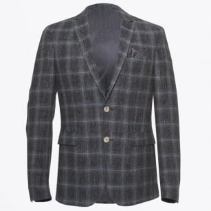 - Star Soft Summer Tweed Check Blazer - Navy