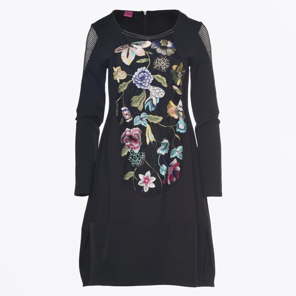 save the queen embroidered floral dress black mr mrs stitch. Black Bedroom Furniture Sets. Home Design Ideas