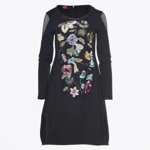 - Embroidered Floral Dress - Black