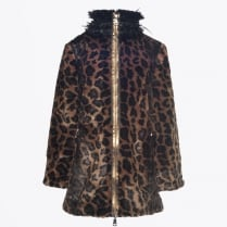 - Faux Fur Leopard Print Coat