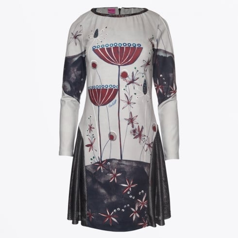 Save The Queen - Floral Print Dress - Light Grey