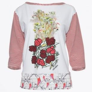 - Floral Stripe Sleeve Top - White/Red
