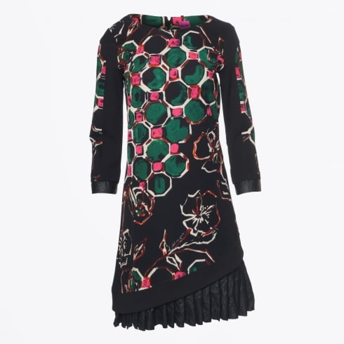 Save The Queen - Frill & Floral Print Dress - Black
