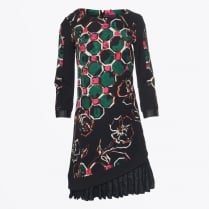 - Frill & Floral Print Dress - Black
