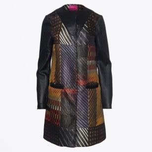 | Leather Sleeve Print Coat - Multi