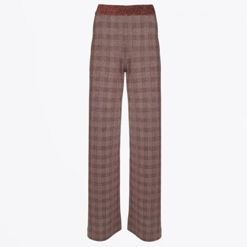 Save The Queen - Lurex Wide Leg Check Trouser
