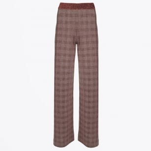 - Lurex Wide Leg Check Trouser