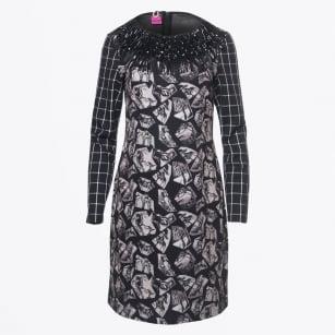   Multi-Patterned Fringe Neckline Dress - Black