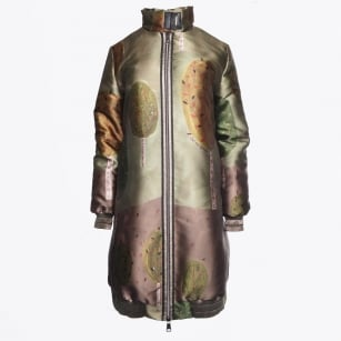 - Satin Tree Print Coat - Khaki