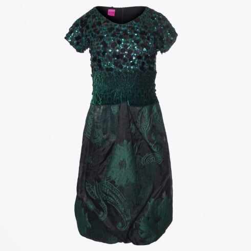 Save The Queen - Sequin Tulip Skirt Dress - Green