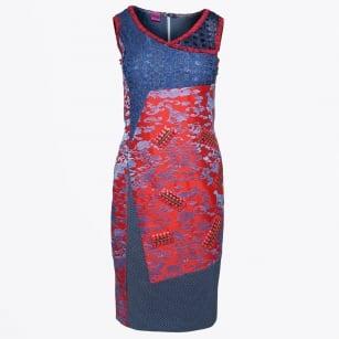  Silk Print Patch Dress - Red/Blue