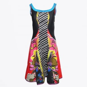 - Sleeveless A-Line Dress - Black/Multicolour