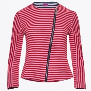 - Striped Bike Jacket - Red