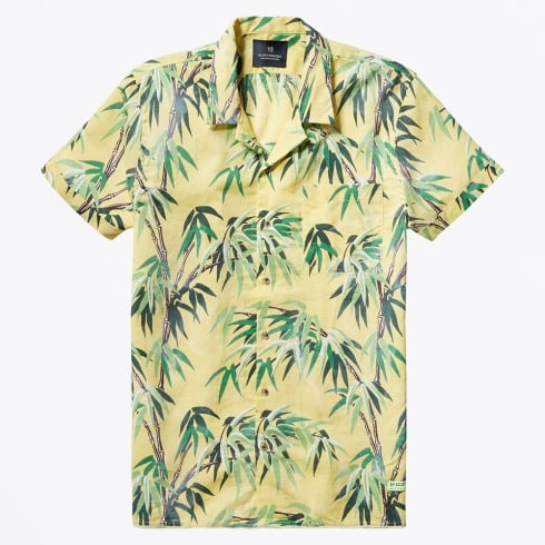 Scotch & Soda - All-Over Printed Hawaii Collar Shirt - Yellow