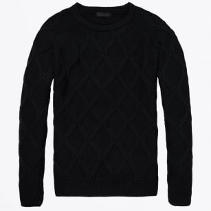 - Cable Knit Crew Pullover - Night