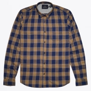 - Check Cotton Shirt - Navy