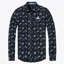 - Chest Pocket Floral Shirt - Navy