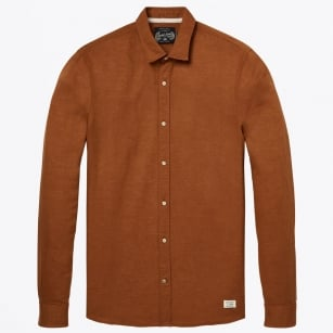 - Classic Linen Shirt - Tobacco Brown