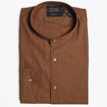 - Collarless Grandad Shirt - Camel