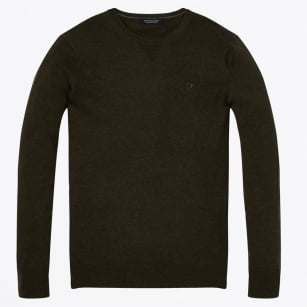 - Cotton Crew Neck Pullover - Army
