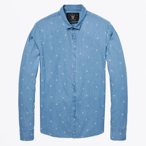 Scotch & Soda - Cotton Palm Print Dress Shirt - Denim