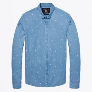 - Cotton Palm Print Dress Shirt - Denim
