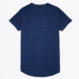 - Cotton Stripe T-Shirt - Indigo