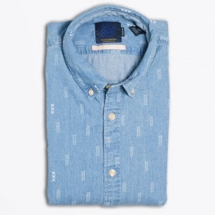 - Cotton X Print Shirt - Blue