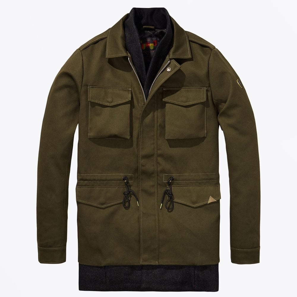 scotch soda field jacket with inner zip army mr. Black Bedroom Furniture Sets. Home Design Ideas