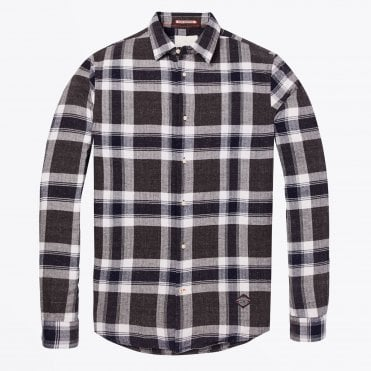 - Flannel Checked Shirt - Dark Navy