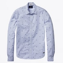 - Flock Printed Shirt Blue - Combo B