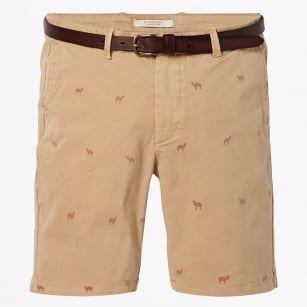 - Garment Dyed Camel Print Chino Shorts