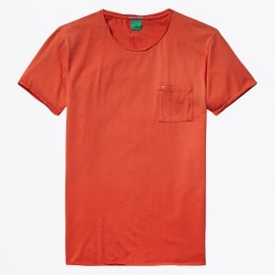 | Garment Dyed Twisted Crewneck T-Shirt - Blazing Red
