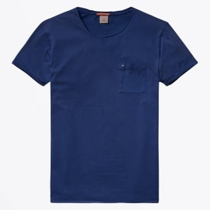 | Garment Dyed Twisted Crewneck T-Shirt - Denim Blue