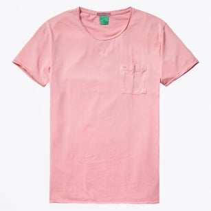 - Garment Dyed Twisted Crewneck T-Shirt - Pink Ash