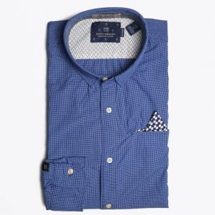 - Gingham Check Shirt - Navy