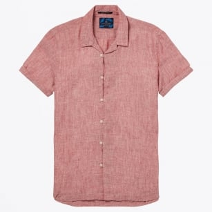 - Hawaii Linen Short Sleeve Shirt - Coral