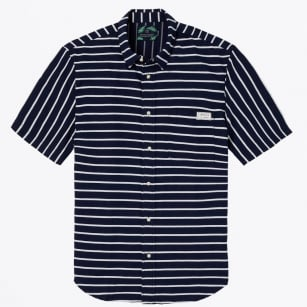 - Horizontal Striped Short Sleeve Shirt - Navy