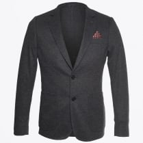 - Knitted Herringbone Blazer - Grey