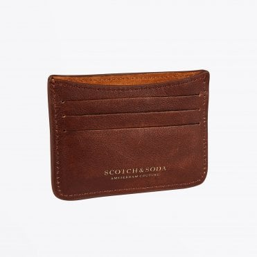 - Leather and Suede Card Holder - Brown