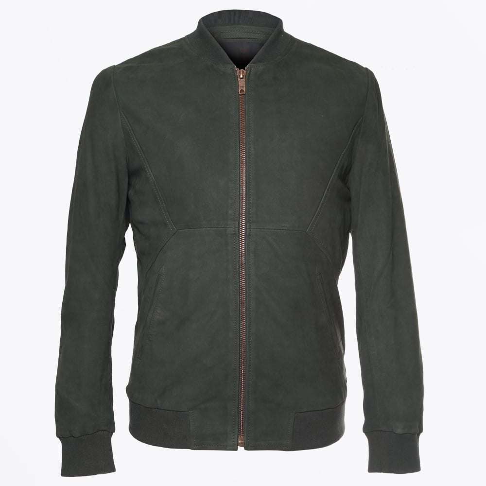 a6930b445 Scotch & Soda - Leather Bomber Jacket - Bottle Green
