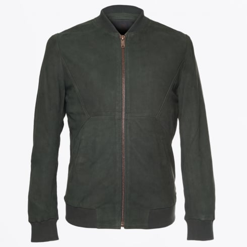 Scotch & Soda - Leather Bomber Jacket - Bottle Green