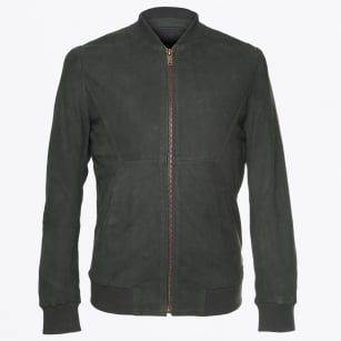 - Leather Bomber Jacket - Bottle Green