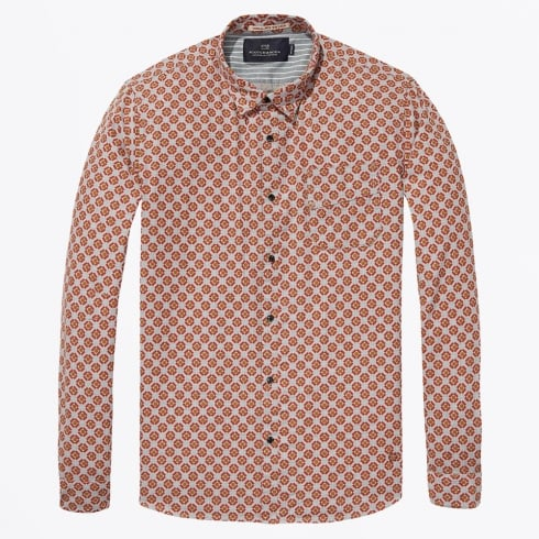Scotch & Soda - Long Sleeve Check Shirt - Orange