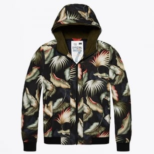 - Nylon Hooded Leaf Print Jacket - Black