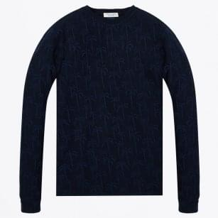 - Palm Jaquard Long Sleeve T-Shirt - Navy